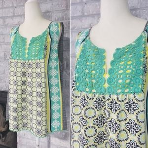 Crown & ivy mint navy crochet sleeveless top